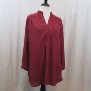 41Hawthorn Pink Popover Roll Tab Sleeves Top M